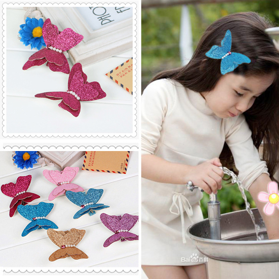 2015Hot Korean Cute Fabric Glitter Butterfly With Pearl Handmade Barrettes Clips Baby For Children Girls Hairpins Kids Hairpins(China (Mainland))