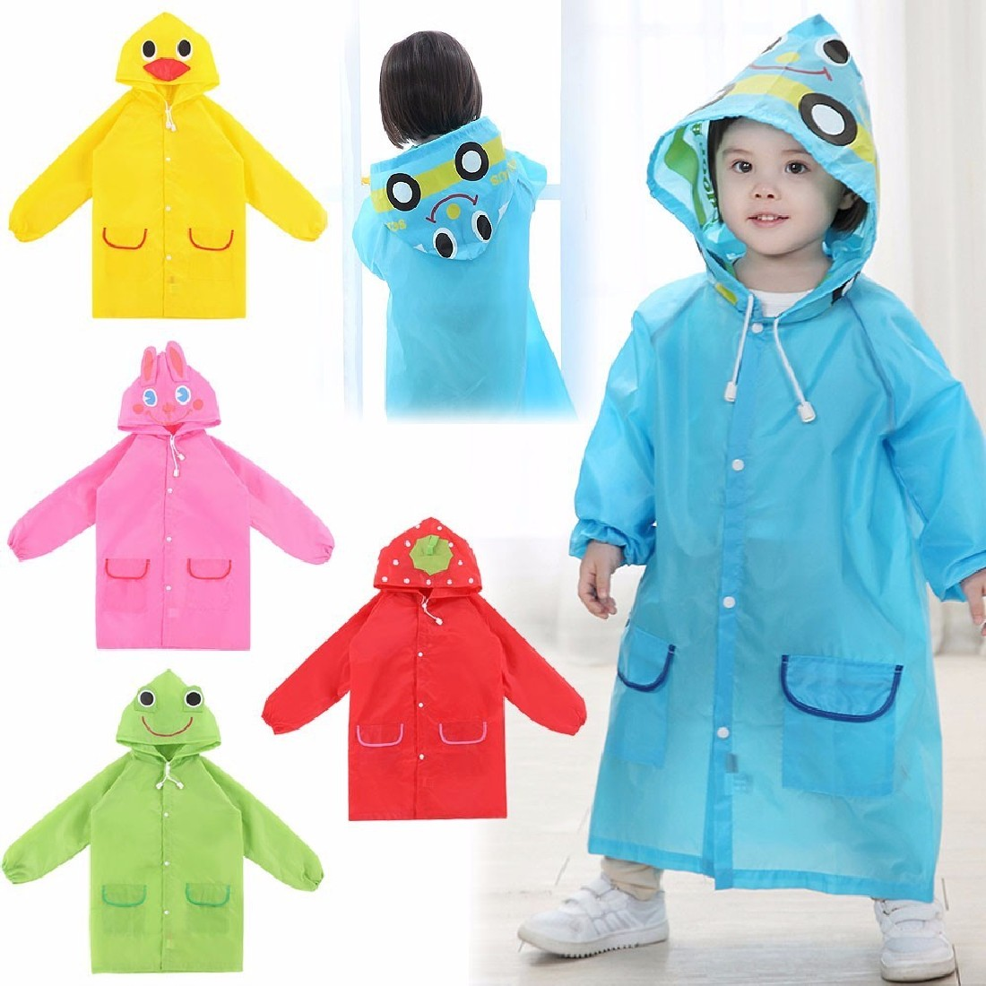 New Fashion Waterproof Kids Cotton Rain Coat For Children Raincoat Rainwear Rainsuit Kids boy girl Animal Style Raincoat(China (Mainland))