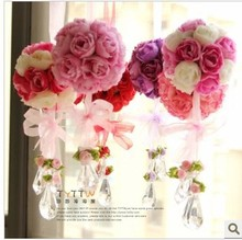 Artificial flower rose ball silk flower Real Touch rose ball Home decorations for Wedding Party (FL13009)(China (Mainland))