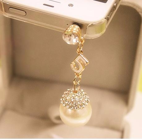 Diamond Big Pearl 3.5mm Jack Anti Dust Plug for Samsung IPHONE 5 6s xiaomi huawei htc Cell Phone Accessories Plugs Pendant Gift