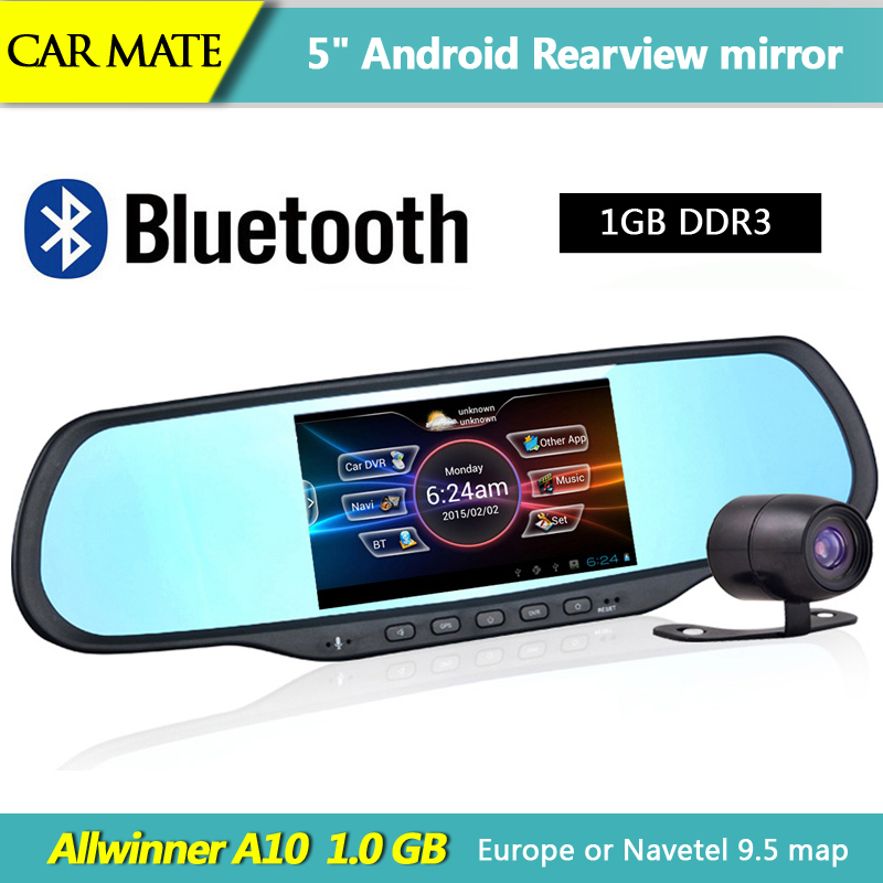 New 5 inch Android rearview mirror Car GPS Navigation Bluetooth Car DVR FHD 1080P WiFi FM 8GB Flash Dual Camera vehicle gps(China (Mainland))
