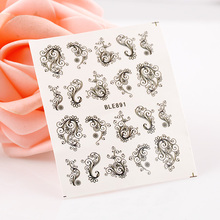 Black pattern design water transfer Nail Art Stickers Decals For Nail Tips Decoration DIY Decorations Fashion Nail Accessories