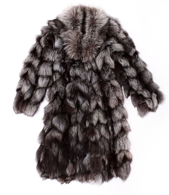 2015 Luxury Lady Genuine Natural Fox Fur Coat Jacket Winter Women Fur Trench Outerwear Coats Overcoat 3XL VK1470