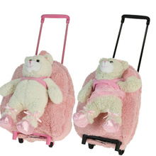1 - 6years 2pcs/lot  child disassembly trolley luggage trolley school bag ballet bear doll female(China (Mainland))