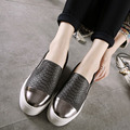 2016 New Height Increasing Sneakers Platform Flat Women Loafers Shoes Serpentine Leather Casual Femal a Pedal