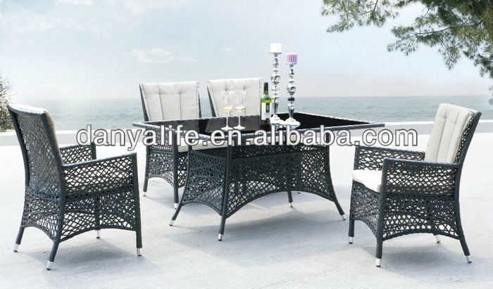DYDS-D5436,Wicker Garden Patio Dinning Set, Rattan Outdoor Restaurant Table Chair, Cane Cafe Table Chair,4 Seat Square Table Set(China (Mainland))