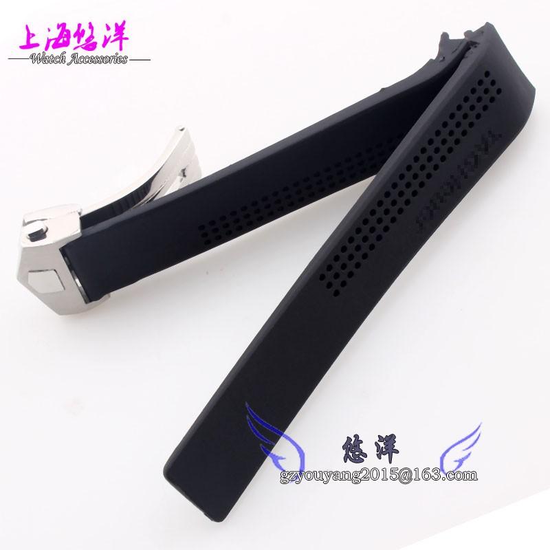 Новых людей черный силиконовой резины водонепроницаемый водолазы часы ремешок ремешок 22 мм 24 мм
