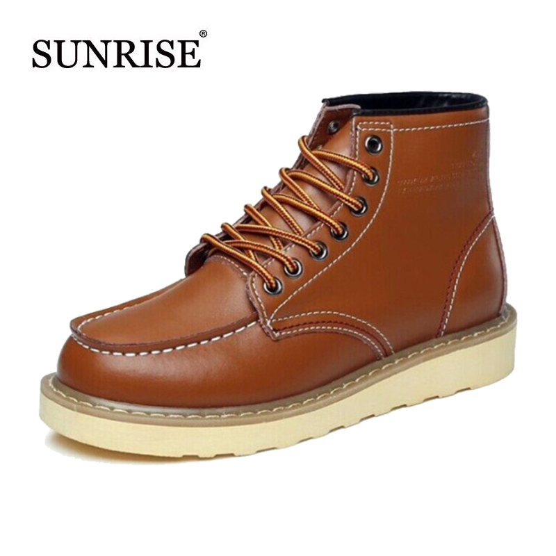 2015 New Soft Leather Winter Boots Cow Split Men's Ankle Boots Martin Motorcycle Boots For Man Botas