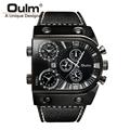 Oulm Men Casual Leather Strap Quartz Watch Mens Top Brand Luxury Military Wristwatch Clock relojes hombre
