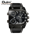 Oulm Men Casual Leather Strap Quartz Watches Mens Top Brand Luxury Military Wristwatch Multiple Time Zone