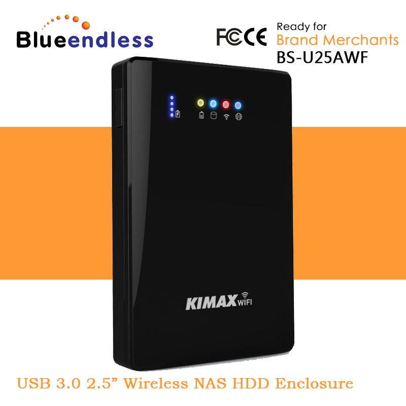 """Blueendless USB 3.0 to 2.5"""" SATA SSD Hard Disk Drive Wireless NAS Shared Server HDD Enclosure Wi-Fi Share Router Power Bank(China (Mainland))"""