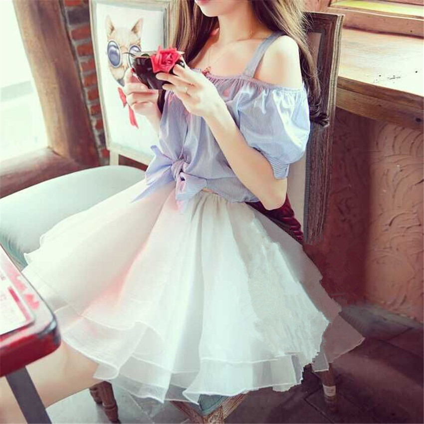 1pc Sexy Cute Girls Slash Neck StripTops Short Lace Ball Gown Dress Off Shoulder Lolita Lady(China (Mainland))