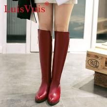 Tamaño 34-47 mujeres del alto talón sobre la rodilla botas damas botas ecuestre militares moda bota de la nieve calzado cálido invierno zapatos P21831(China (Mainland))