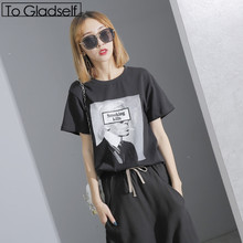 Buy To Gladself Women 2017 Summer Fashion Casual Designer Clothing Clothes Character Print Short Sleeve Chic Tee Top T Shirt for $13.16 in AliExpress store