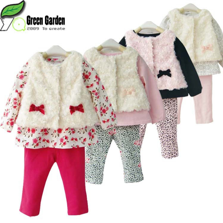 Baby products Girl Rompers Clothing set, Kids infant Vest+Outerwear+leggings, Bebe Wear Suits Carters Pajamas for girls(China (Mainland))