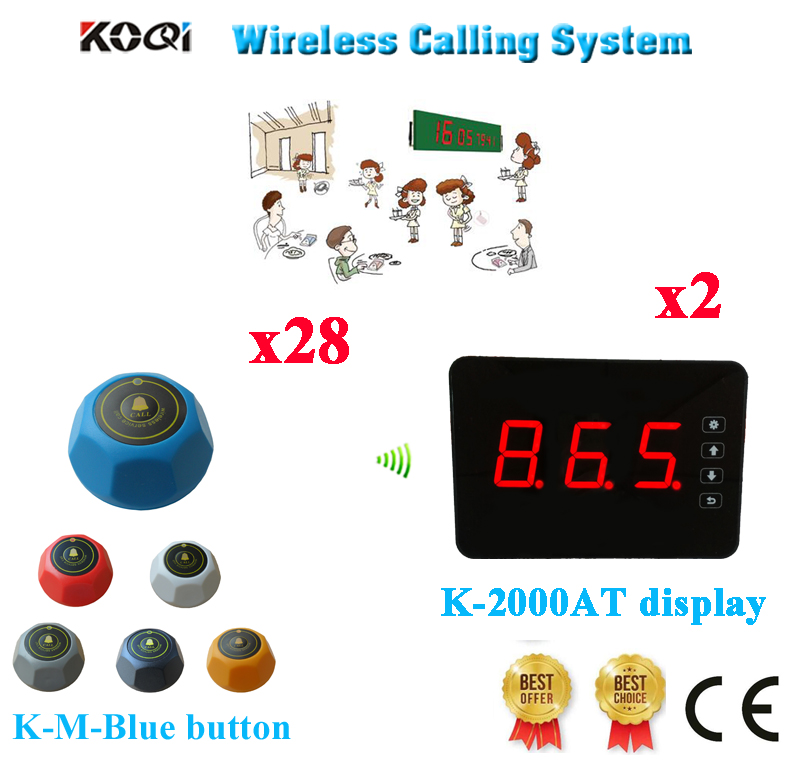 Wireless Customer Call Bell System For Restaurant Service Touch Number Display & Table Call buttons( 2 display+ 28 call button)(China (Mainland))