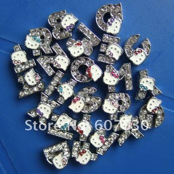 1300pcs 8mm A-Z hello kitty Rhinestone Slide Letter Charm Fit Pet Dog Cat Tag Collar Wristband  DIY letter jewellery