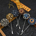Fashion Men Lapel Pin Flower Brooches Fabric Brooch Flower Corsage Lapel Pin Brooches Stick Banquet Men Suits in 18 Colors
