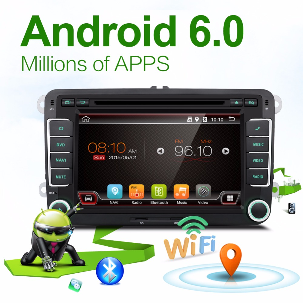 2 Two Din Aux GPS Quad 4 Core Android 6.0 Car DVD Player TV For VW Skoda POLO GOLF 5 6 PASSAT CC JETTA TIGUAN TOURAN Fabia Caddy(China (Mainland))