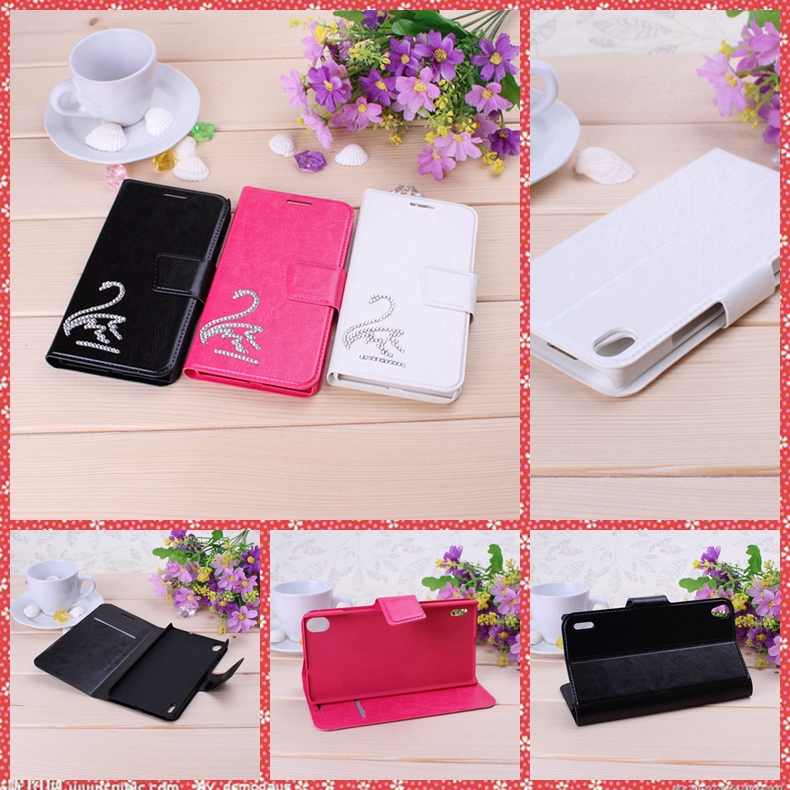 Pocket Series Solid Color 3D DIY Rhinestone Swan PU Leather Case with Holder & Card Slots for HUAWEI Ascend P7(China (Mainland))