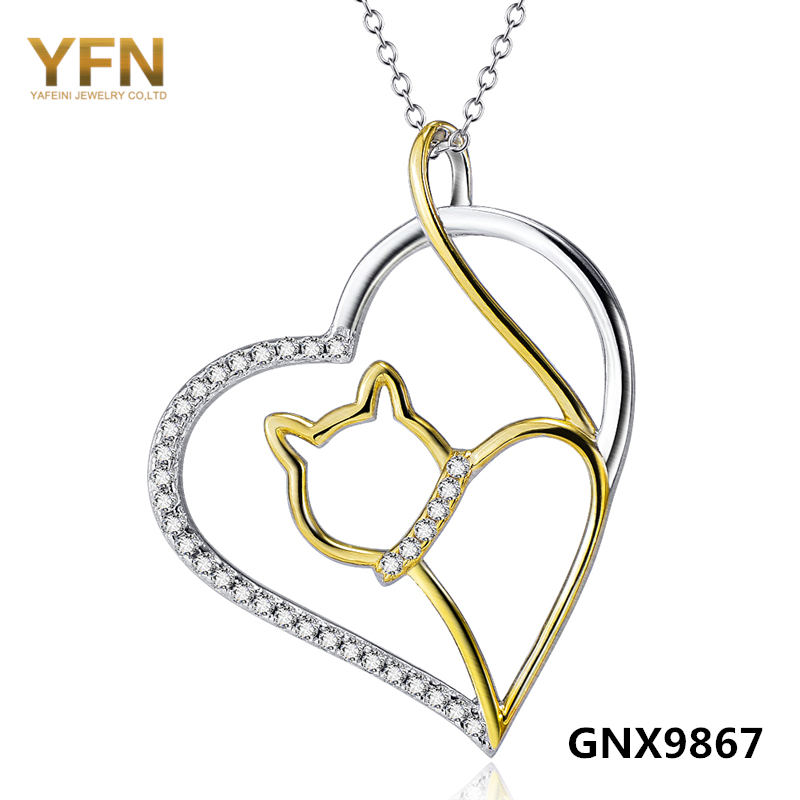 100% Real Pure 925 Sterling Silver Jewelry CZ Crystal Heart Necklace Wholesale 18K Gold Plated Cat Necklace For Women GNX9867(China (Mainland))