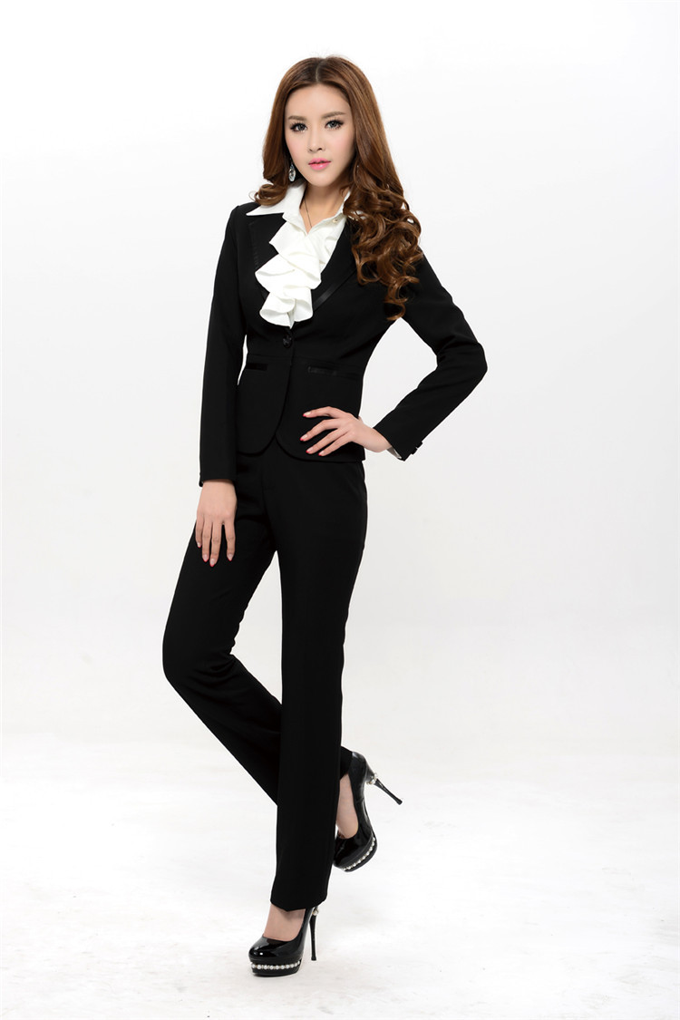 New 2015 autumn and winter women pant suits blazer jacket for Office uniform design 2015