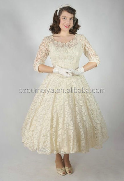 Buy onw786 scoop half sleeve tea length for Cream colored lace wedding dresses
