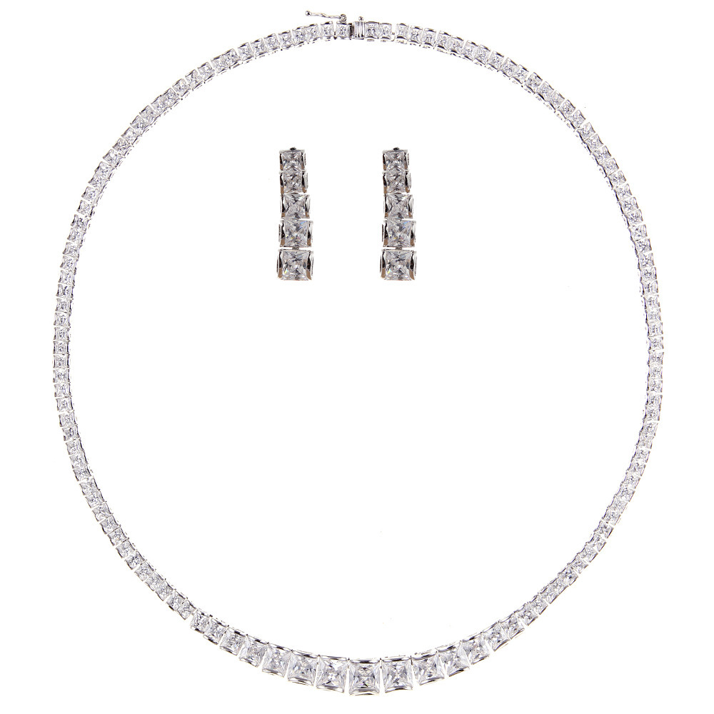 Fashion Jewelry Simple Round Cubic ZIrconia Diamond Jewelry Sets Round Necklace Earrings For Women Wedding Bridal Party Jewelry<br><br>Aliexpress