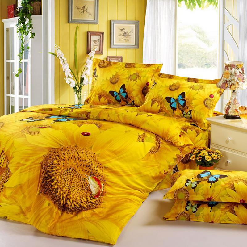 Yellow Sunflower Print 3D Bedding Set King Queen 4pcs Butterfly Bedclothes Duvet Cover bedsheet Bed sets Bed Cover For Duvet(China (Mainland))