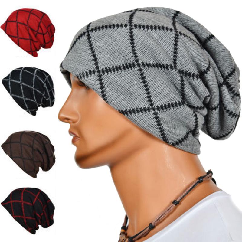 Fashion Autumn Winter Men Geometric Patterns Knitted Hats Caps Warm Skullies Beanies Hip-hop Snap Slouch Bonnet Hat Women Beanie(China (Mainland))