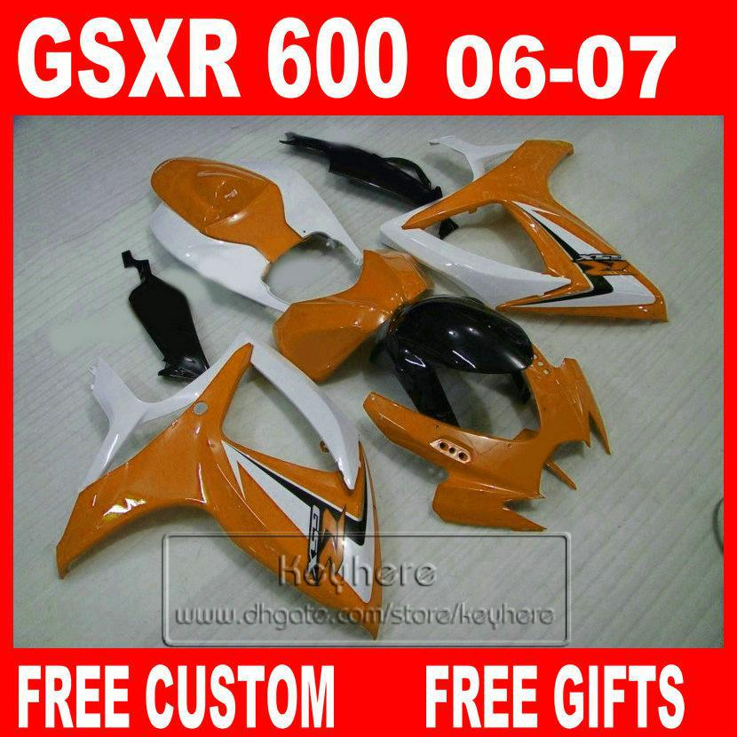 100% Injection molding for 2006 2007 SUZUKI Fairing kit GSXR 600 06 07 GSXR 750 orange black fairing sets XHEIT(China (Mainland))