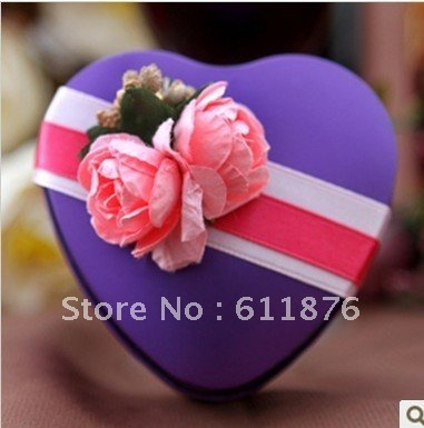 candy box , purple heart gift box with artificial flower decoration, T10, tin box gift package, wedding favors, free shipping