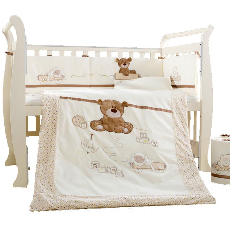 9pcs cotton baby cot bedding set newborn crib bedding for Bed pillow sets