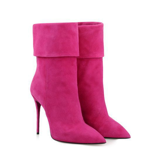 Pink Suede Ankle Boots Fuchsia Suede Ankle Boots