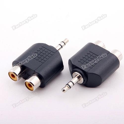 factorysale 3.5mm Audio Jack Male Plug to 2 RCA Splitter Adapter wholesale(China (Mainland))