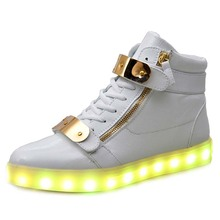7 Colors Unisex Led Luminous Light Shoes Men Women Fashion USB rechargeable Light Led Shoes for Adult Black White 36-44 NX4008(China (Mainland))