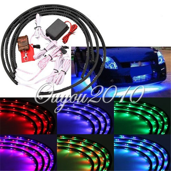 High Quality 7 Color LED RGB Strip Flash Light Under Car Glow Underbody System Neon Lamp Kit Remote 24x 2 36x 2(China (Mainland))