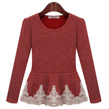 2015 New high quanlity cotton plus size Autumn Winter fashion knitted long sleeve lace ladies dresses shirt(China (Mainland))