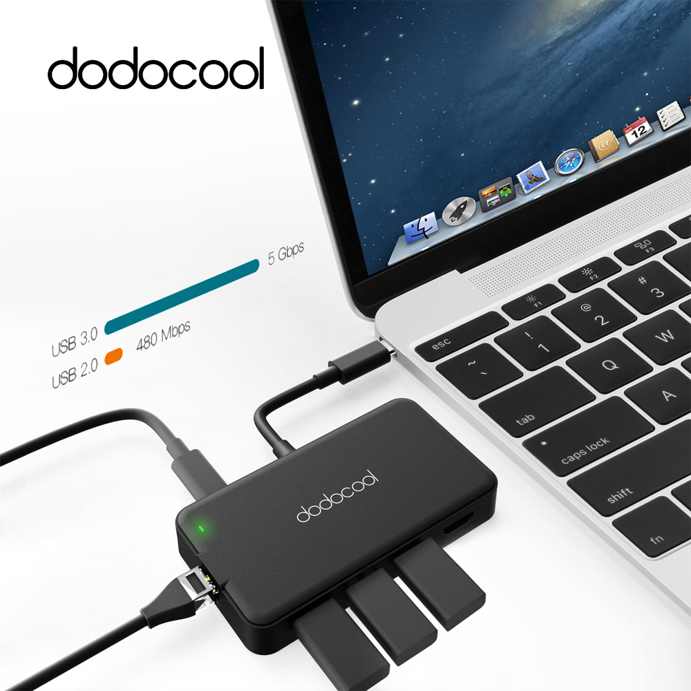 dodocool Multifunction Type C Hub with Type-C Power Delivery 4K Video HD/VGA USB 3.0 Port Gigabit Ethernet Adapter 7 in1 USB Hub(China (Mainland))