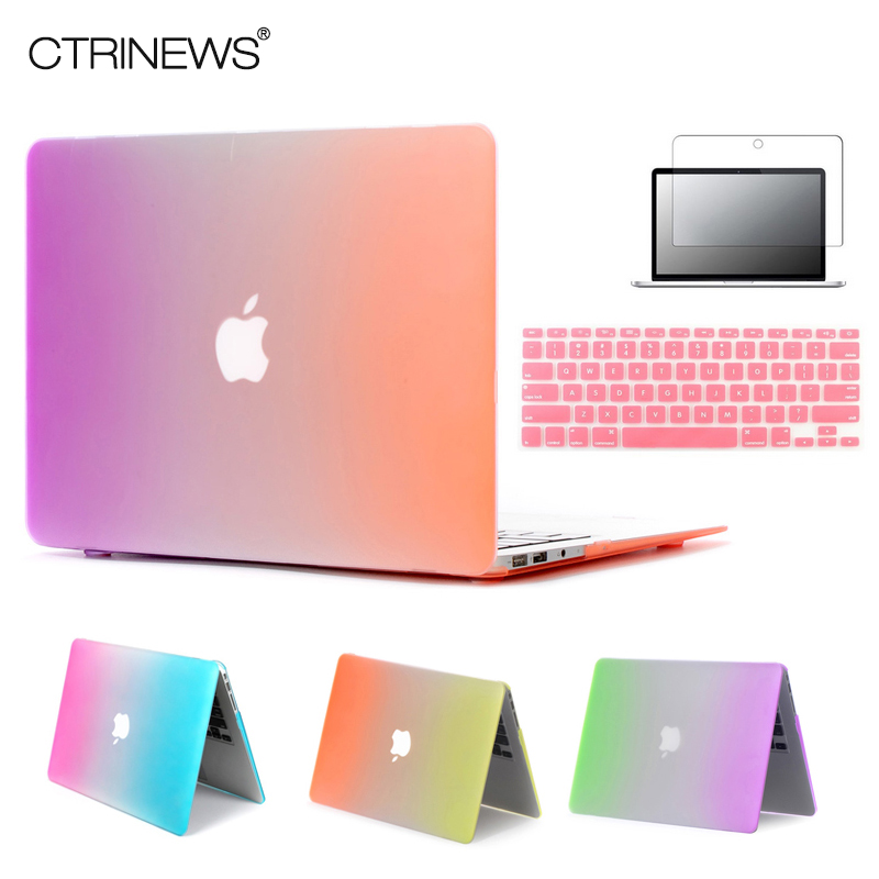 CTRINEWS Rainbow Matte Case For Apple Macbook Air 13 Case Air 11 Pro 13 Retina 12 13 15 Laptop Bag For MacBook Pro 13 Case