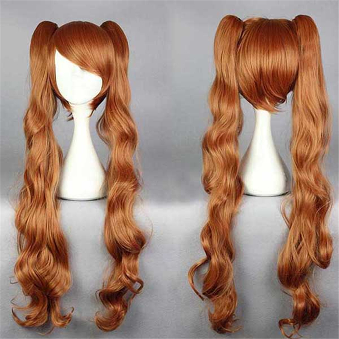 great value New Arrival High Quality Yurikuma Arashi Yurigasaki Lulu Long Golden Brown Annie Cosplay Wig Hair + 2 Clips On Ponyt(China (Mainland))