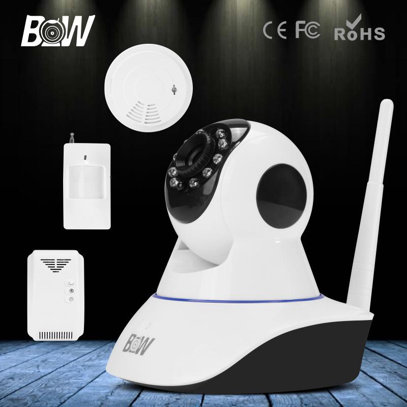 HD 720P Wireless IP Camera Wifi Automatic Infrared Motion Sensor + Gas & Smoke Detector Onvif Video Surveillance Security CCTV(China (Mainland))