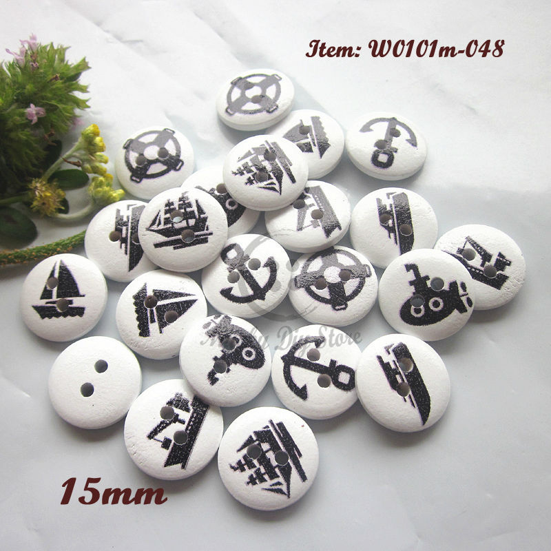 Buttons 15mm 250pcs ocean ship series white bottom wood buttons for craft / scrapbooking diy sewing supplies(China (Mainland))