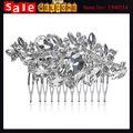 Silver Plated Rhinestone Wedding Hair Comb Bridal Hair accessories Crystal Bridal Hair Comb Long Leaf Wedding