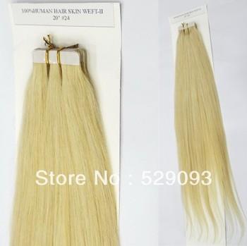 PU Skin Tape Weft 100% Brazilian Human Hair Extension 20'' 24# Light Golden Blonde 50g/20pcs/pack Straight Free Shipping