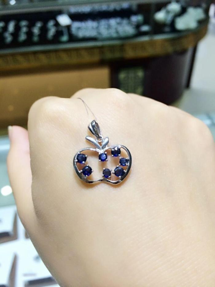 Wholesale dark blue apple shape natural shape sapphire stone pendant natural gem stone pendants for women party fine jewelry<br><br>Aliexpress