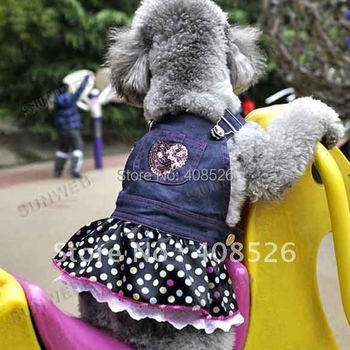 dog clothes for dogs New Pet clothes Dog lovely Lace Heart Apparel Clothes Costume Jeans Dress Skirt free shipping 3799