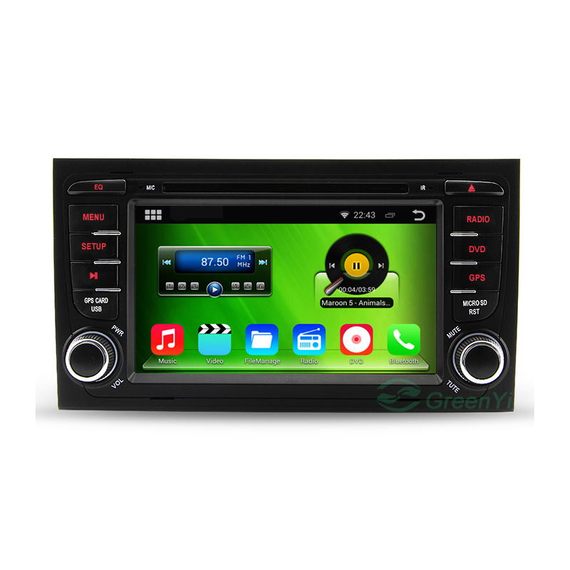 HD 1024*600 Pure Android 4.4 2 Din Car DVD Video Player Radio For Audi A4  With Bluetooth GPS Navigation RDS WiFi 3G(China (Mainland))