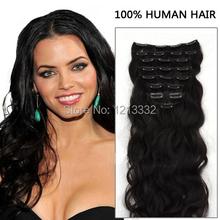 Cheap Human Hair Products 7pcs/set Brazilian Body Wavy Natural Color(#1B) Clip In Human Hair Extensions Virgin Hair In Stock(China (Mainland))
