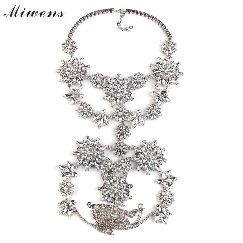 Miwens Facebook Hot Sexy Exaggerated Crystal Charm Body Chain Statement Necklace Vintage Flower Pendant Necklace Jewelry 6483(China (Mainland))